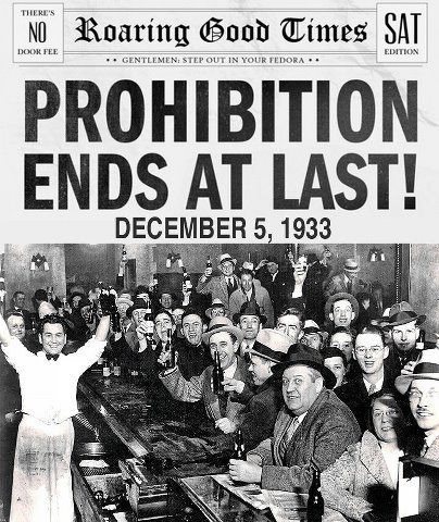 alcohol prohibition ended in 1933